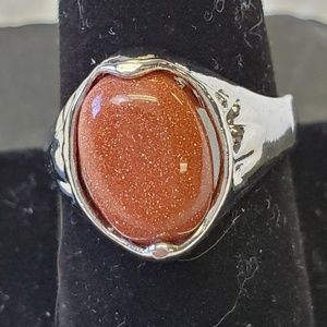 Natural Speckled Amber Colored Stone Ring